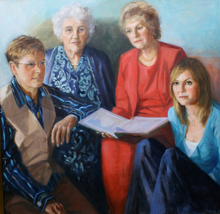 an oil painting of a family group of four generations of women