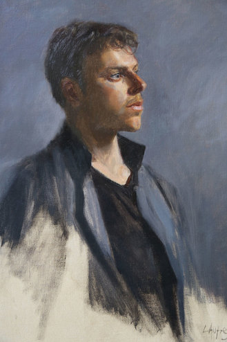 portrait painting of a young man painted in oil
