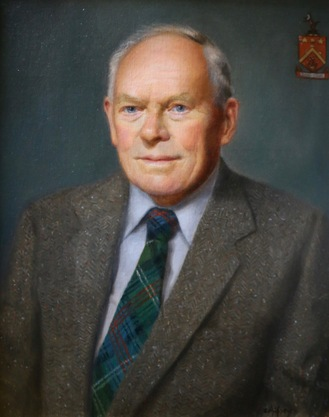 oil portrait painting commission with family crest
