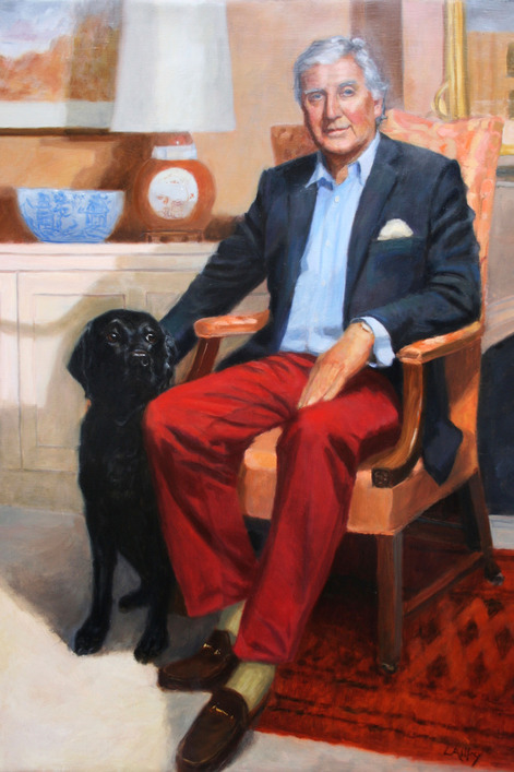 oil portrait painting of dog and owner