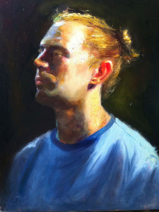 portrait oil sketch of husband