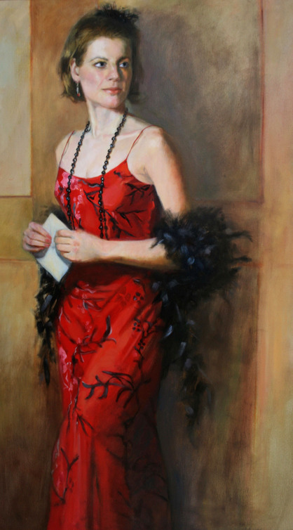 Lady in Red oil portrait painting won the John Singer Sargent People's award
