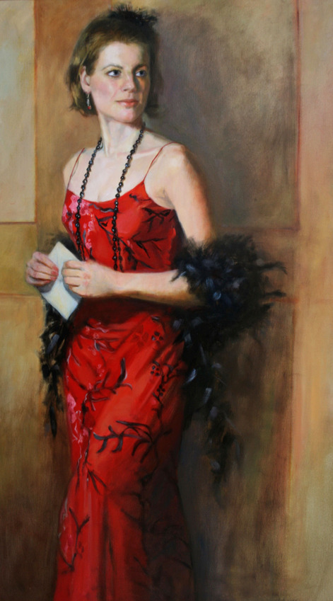 Award winning figurative three quarter length oil painting