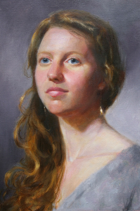 young woman's portrait painting
