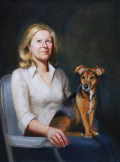 oil painting commission for special birthday with a painting of her dog