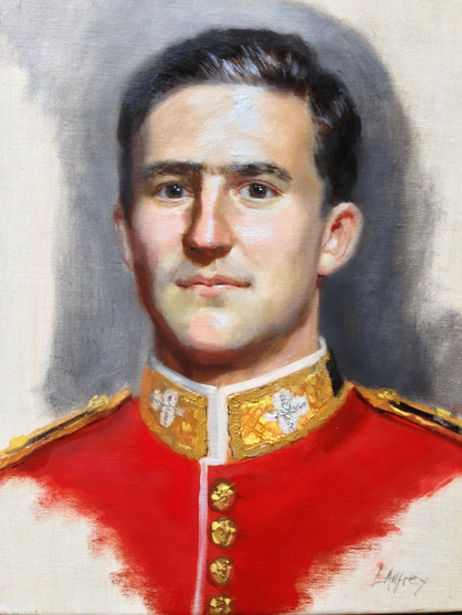 portrait oil study of a prince in the army from a life sitting