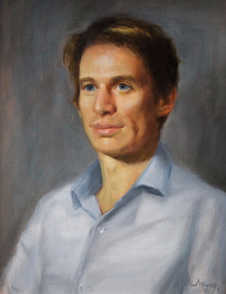 oil portrait painted of family artist son